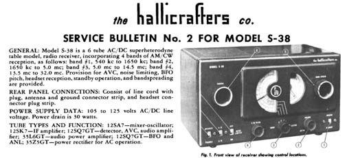 S-38 Hallicrafters S Schematic on
